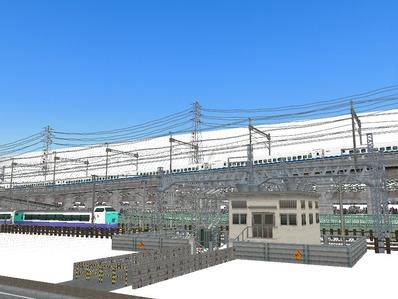 仮想日本海縦幹線雪景色在来線変電所6