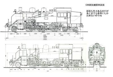 C11蒸気機関車塗り絵図面1