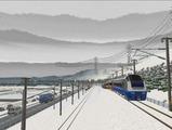 奥中山大カーブ冬景色E653系12ゴレンジャー