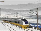 奥中山大カーブ冬景色E653系3黄色