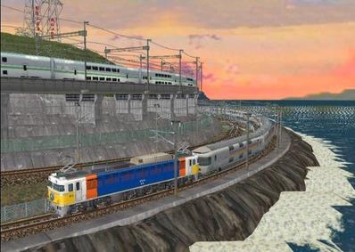 仮想日本海縦幹線日本海夕暮れ3カシオペア3