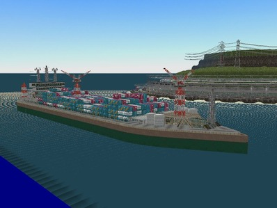 仮想日本海縦幹線雪景色海岸線完成10船