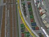 3欲張り新幹線レイアウト踏切道空撮1