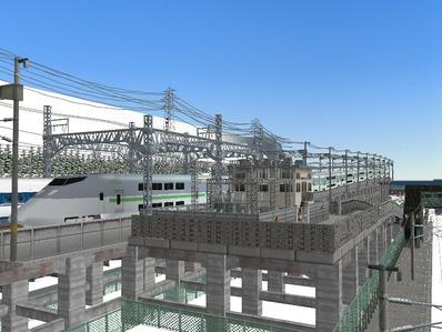 仮想日本海縦幹線雪景色新幹線変電所2