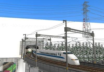 仮想日本海縦幹線雪景色トンネル新幹線8下り