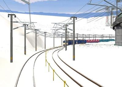 仮想日本海縦幹線雪景色春霞1