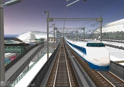 仮想日本海縦幹線雪景色夜明け前100系1