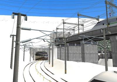 仮想日本海縦幹線雪景色トンネル在来線5下り