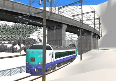 仮想日本海縦幹線雪景色トンネル在来線2