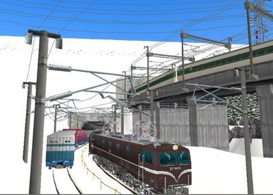 仮想日本海縦幹線雪景色トンネル在来線7下り