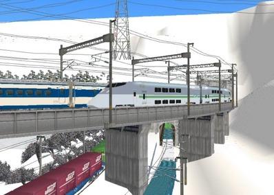 仮想日本海縦幹線雪景色トンネル新幹線4