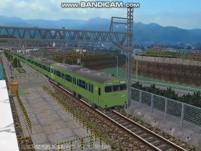 越河レイアウト103シリーズ97-103系JR高運転台ウグイス色関西圏3