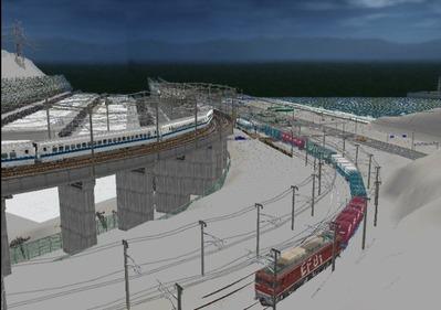 仮想日本海縦幹線雪景色海岸線上空上り線2