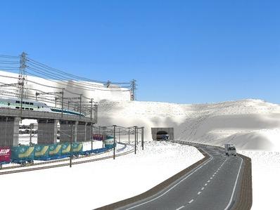 仮想日本海縦幹線雪景色国道制作1