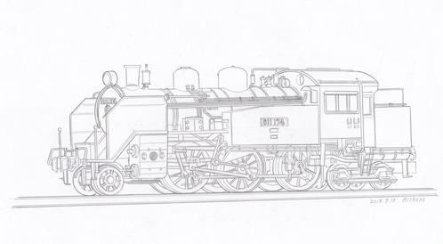C11蒸気機関車塗り絵その6原画