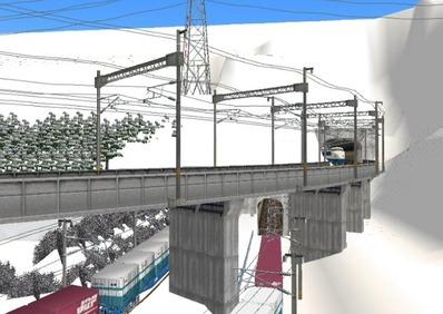 仮想日本海縦幹線雪景色トンネル新幹線1
