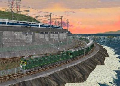 仮想日本海縦幹線日本海夕暮れ7トワイライト3