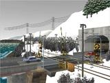 雪景色と貨物交換駅レイアウト踏切13.jpg