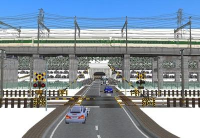 仮想日本海縦幹線雪景色踏切A5