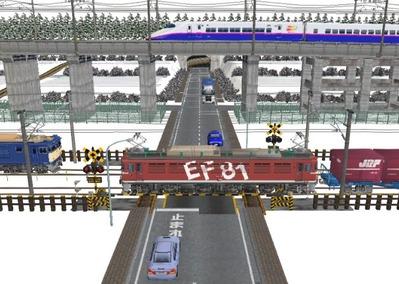 仮想日本海縦幹線雪景色踏切A8