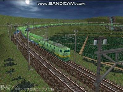 越河レイアウト夜汽車シリーズ18-EF58-45青大将コンテナ8