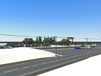 仮想日本海縦幹線雪景色神社2