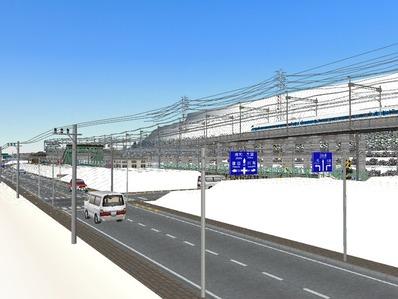 仮想日本海縦幹線雪景色国道制作9