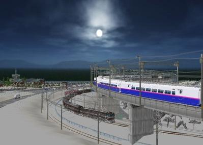 仮想日本海縦幹線雪景色海岸線上空下り線3