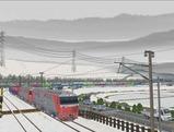 奥中山大カーブ冬景色DF200レッドベア3