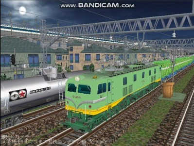 越河レイアウト夜汽車シリーズ18-EF58-45青大将コンテナ1