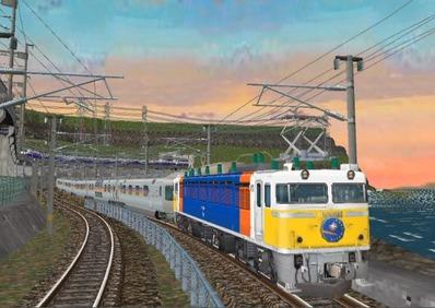 仮想日本海縦幹線日本海夕暮れ1カシオペア1