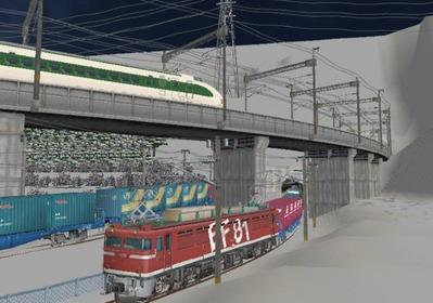 仮想日本海縦幹線雪景色月明かりトンネル出口3