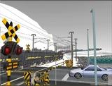 雪景色と貨物交換駅レイアウト踏切11.jpg
