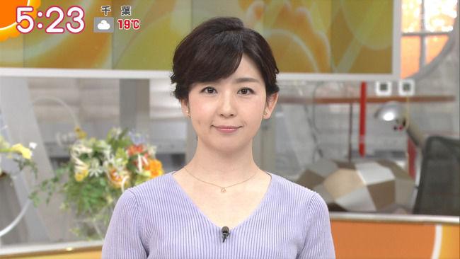 【画像】松尾由美子アナのニットおっぱい!