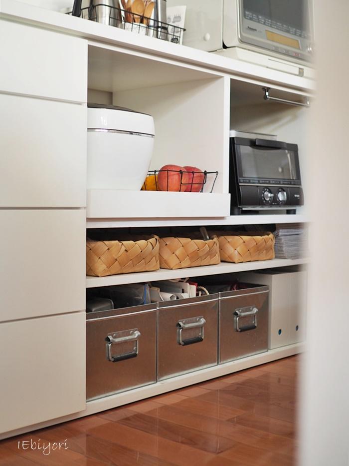 Kitchen,ニトリ,無印良品,ディアウォール棚,ニトリかご,セリア,
