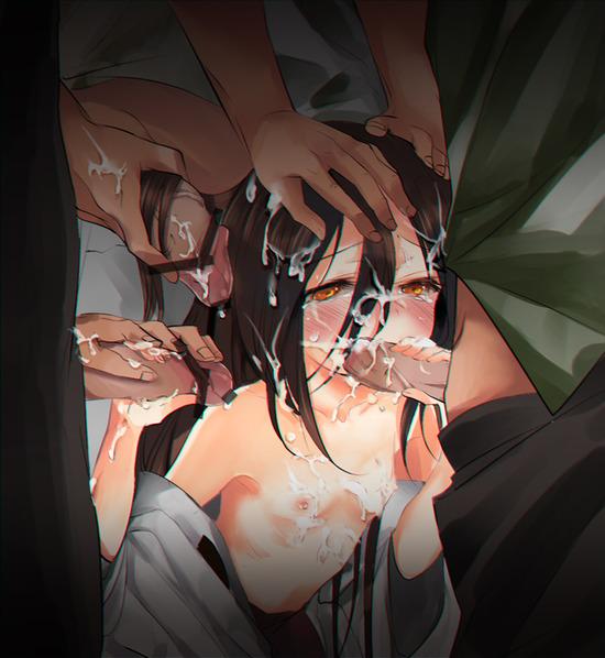 ロリ貧乳無理矢理フェラチオb (4)