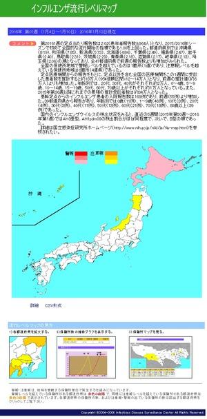 インフルエンザ流行マップ 2016年第01週