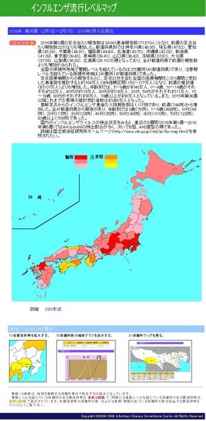 インフルエンザ流行レベルマップ 2016年第05週