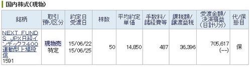 JPX日経インデックス400売却