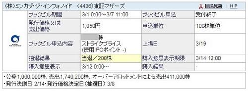IPO ミンカブ・ジ・インフォノイド当選