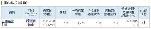 日本製鉄1750円約定