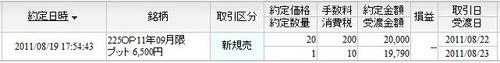 9月限P6500新規売り