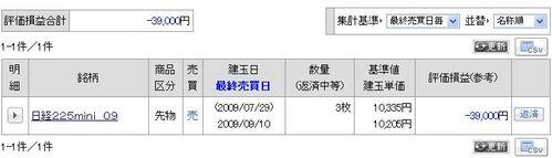 先物・オプション含み損益 20070731