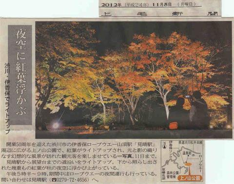 新聞に掲載されました(上ノ山公園紅葉ライトアップ)