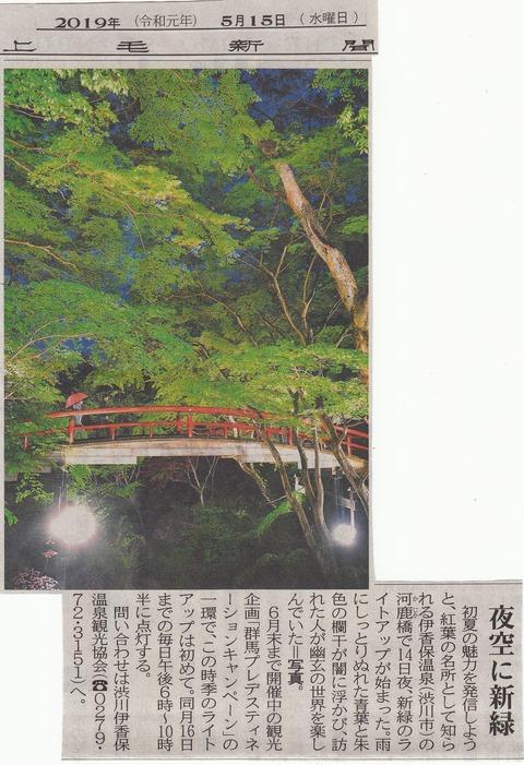 河鹿橋、夜空に新緑…