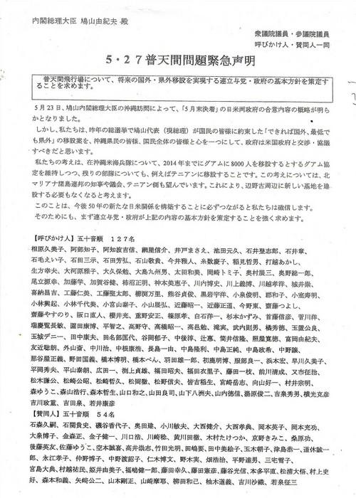 海兵隊基地グワム移設要請議員リスト