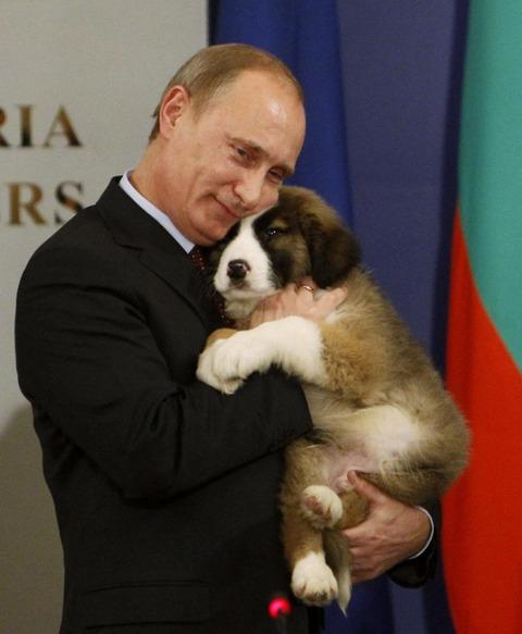 【画像】人には冷酷だが、動物には優しいプーチンさん