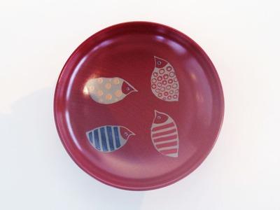 とり(赤) 皿