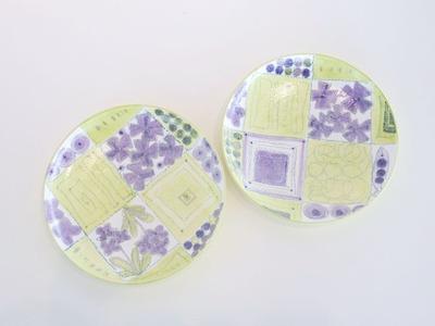 色絵銀彩皿(黄紫)