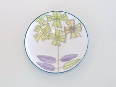 色絵銀彩皿(花)